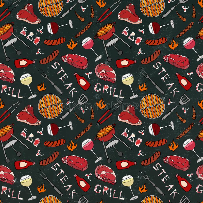 Seamless Pattern of Summer BBQ Grill Party. Glass of Red, Rose and White Vine, Steak, Sausage, Barbeque Grid. Black Board Backgrou royalty free illustration