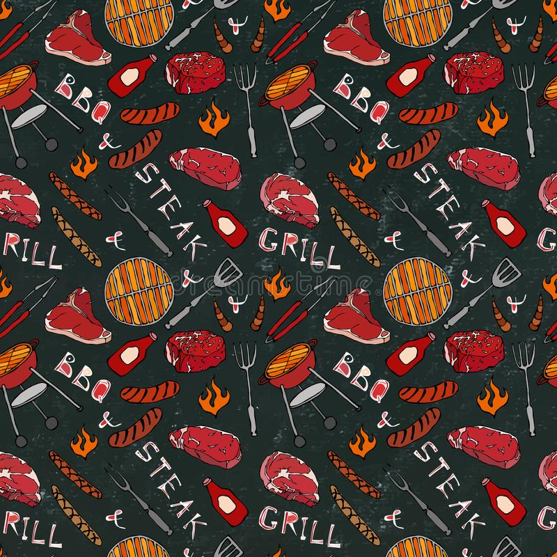 Seamless Pattern of Summer BBQ Grill Party. Steak, Sausage, Barbeque Grid, Tongs, Fork, Fire, Ketchup. Black Board Background and stock illustration