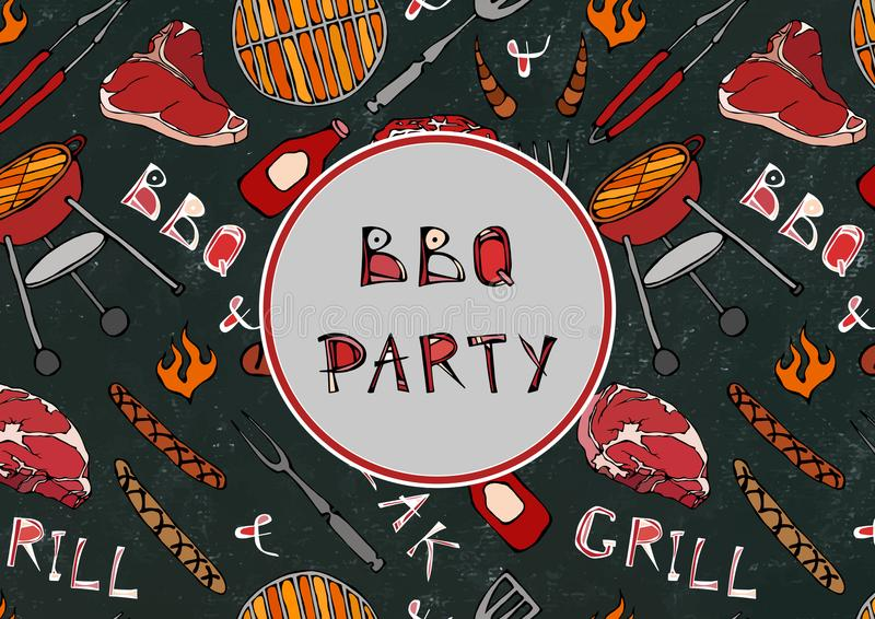 Seamless Pattern of Summer BBQ Grill Party. Steak, Sausage, Barbeque Grid, Tongs, Fork, Fire, Ketchup. Black Board Background and royalty free illustration