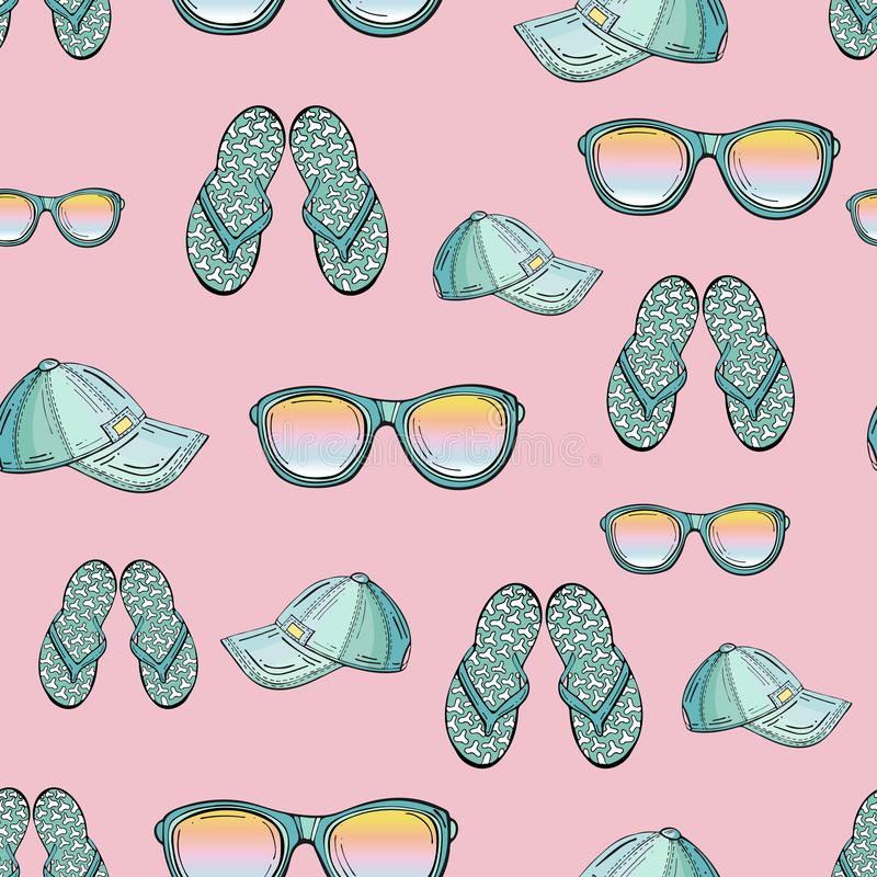 Seamless pattern of summer clothes isolated on a pink background stock illustration