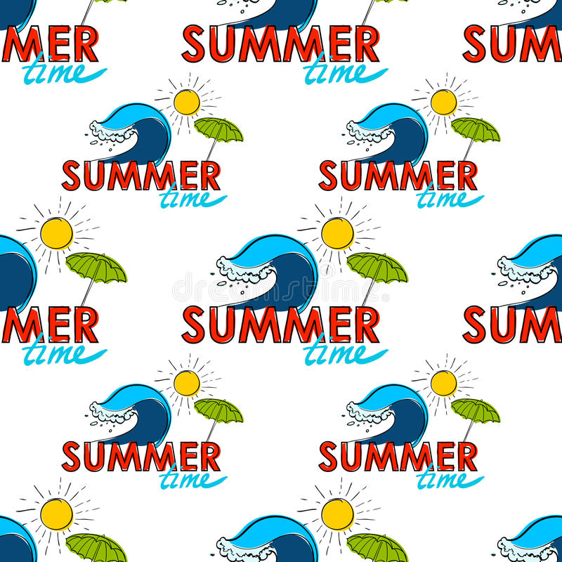 Seamless pattern. Summer doodle postcard. Hand-drawn wave, umprella and sun. vector illustration