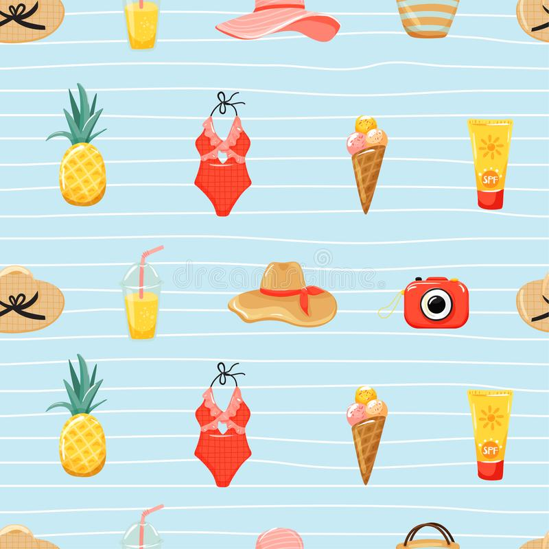 Seamless pattern with summer elements and striped background. Camera, swimsuit, cocktail, hat, ice cream, bag and pineapple. stock illustration