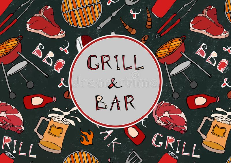 Seamless Pattern of Summer Grill and Bar Party. Steak, Sausage, Barbeque Grid, Tongs, Fork, Fire, Ketchup. Black Board Background royalty free illustration
