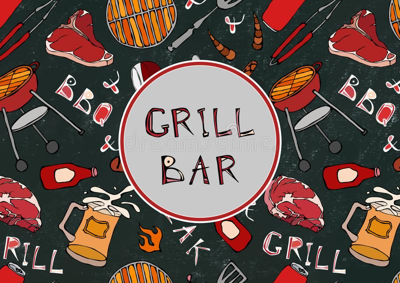 Seamless Pattern of Summer Grill and Bar Party. Steak, Sausage, Barbeque Grid, Tongs, Fork, Fire, Ketchup. Black Board Background stock illustration