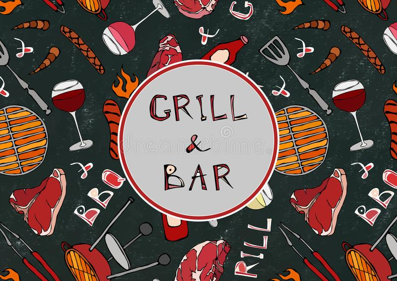 Seamless Pattern of Summer Grill and Bar Party. Steak, Sausage, Barbeque Grid, Tongs, Fork, Fire, Ketchup. Black Board Background. And Chalk. Hand Drawn Vector vector illustration