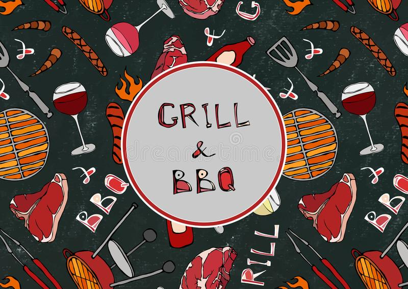 Seamless Pattern of Summer Grill and BBQ. Steak, Sausage, Barbeque Grid, Tongs, Fork, Fire, Ketchup. Black Board Background and Ch vector illustration