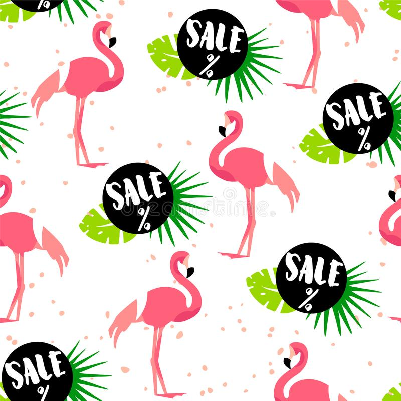 Seamless pattern for summer sale with cute flamingo, palm leaves and text on white background. Ornament for textile and wrapping. Vector vector illustration