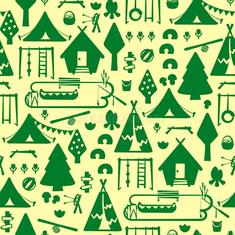Seamless pattern with summer scout camp elements stock illustration