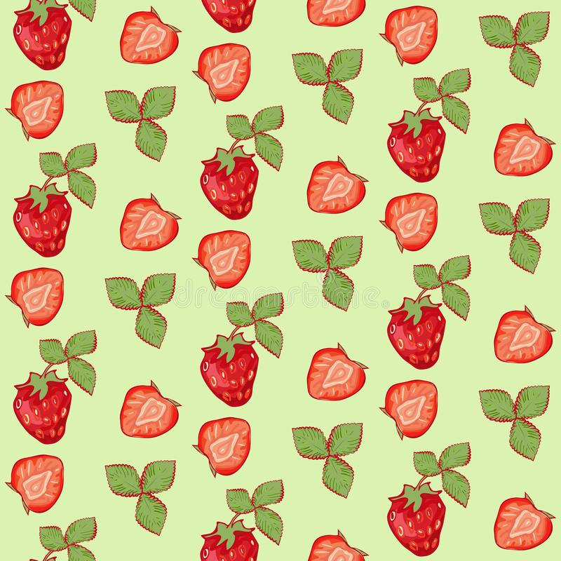 seamless pattern summer strawberry with leaves on green background royalty free illustration