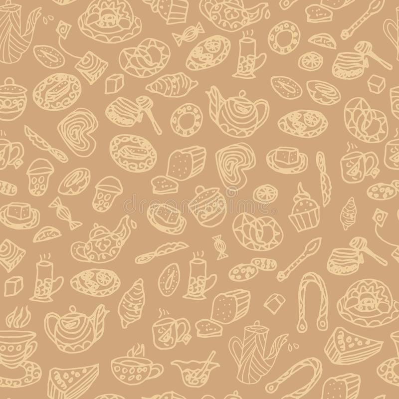 Seamless pattern. summer tea party. hand drawing. vector illustration