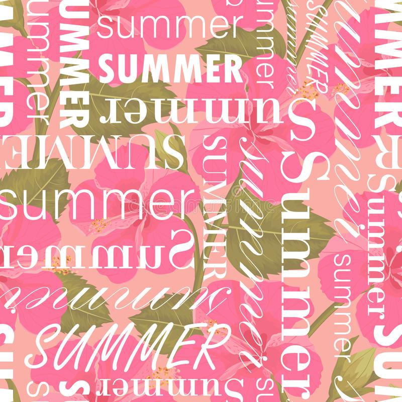Seamless pattern with summer text, colorful  vector illustration