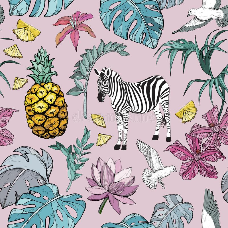 Seamless pattern with Summer Tropical Flowers, leaves and zebra, birds and fruits vector illustration
