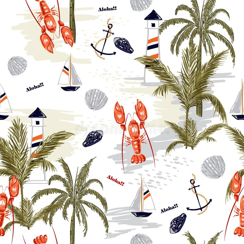 Seamless pattern summer tropical island of mediterranean. With lobster shell ,lemon,anchor, for fashion fabric,wallpapre,webpage on white in hand drawn style stock illustration