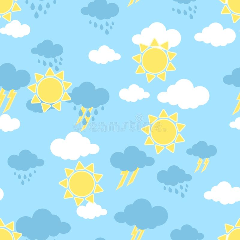 Seamless pattern with sun. clouds, rain and rainbow . Wallpaper for children room. Weather  background stock illustration