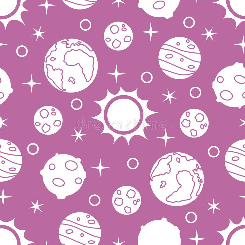 Seamless pattern with sun, planets, stars. Space exploration. Astronomy. Science. Vector. Seamless pattern with sun and planets and stars. Space exploration vector illustration
