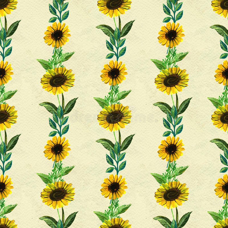 Seamless pattern with sunflowers. Floral watercolor background stock illustration