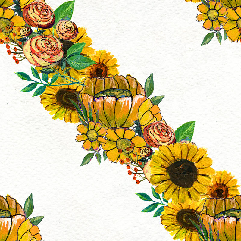 Seamless pattern with sunflowers. Floral watercolor background royalty free illustration