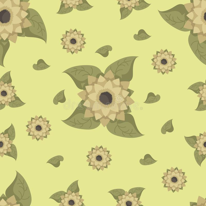 Seamless pattern with sunflowers on a green background. royalty free illustration