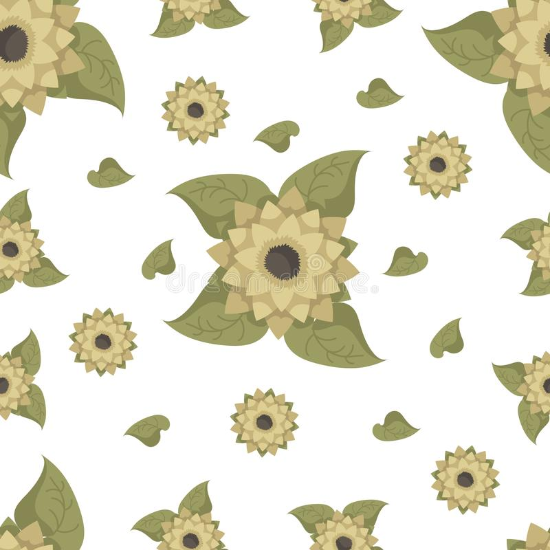 Seamless pattern with sunflowers on a white background. vector illustration