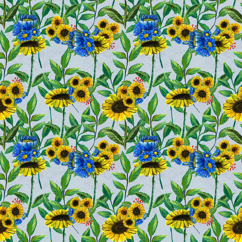 Seamless pattern with sunflowers and wildflowers. Seamless pattern with blue wildflowers and sunflowers. Floral watercolor background royalty free illustration