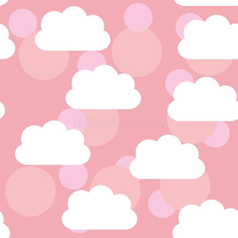 Seamless pattern sunset, sunrise, sky, clouds. Pink background. vector illustration
