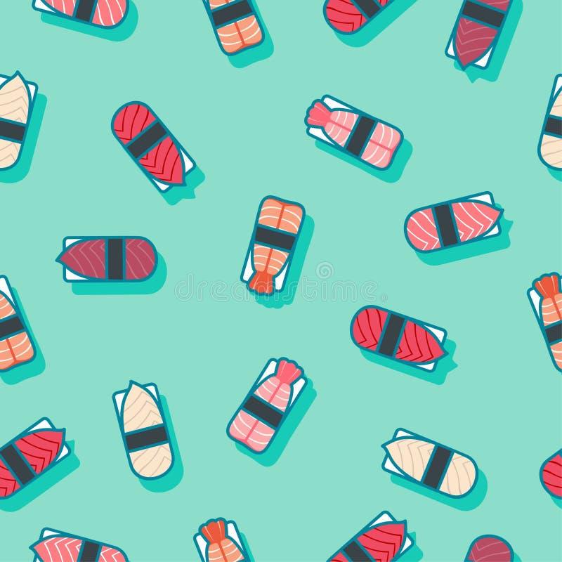 Seamless pattern. Sushi flat illustration. Sushi restaurant decoration. Kawaii sushi and nigiri on a azure background. royalty free illustration