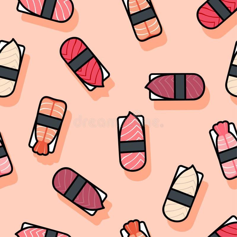 Seamless pattern. Sushi flat illustration. Sushi restaurant decoration. Kawaii sushi and nigiri on a pink background. vector illustration