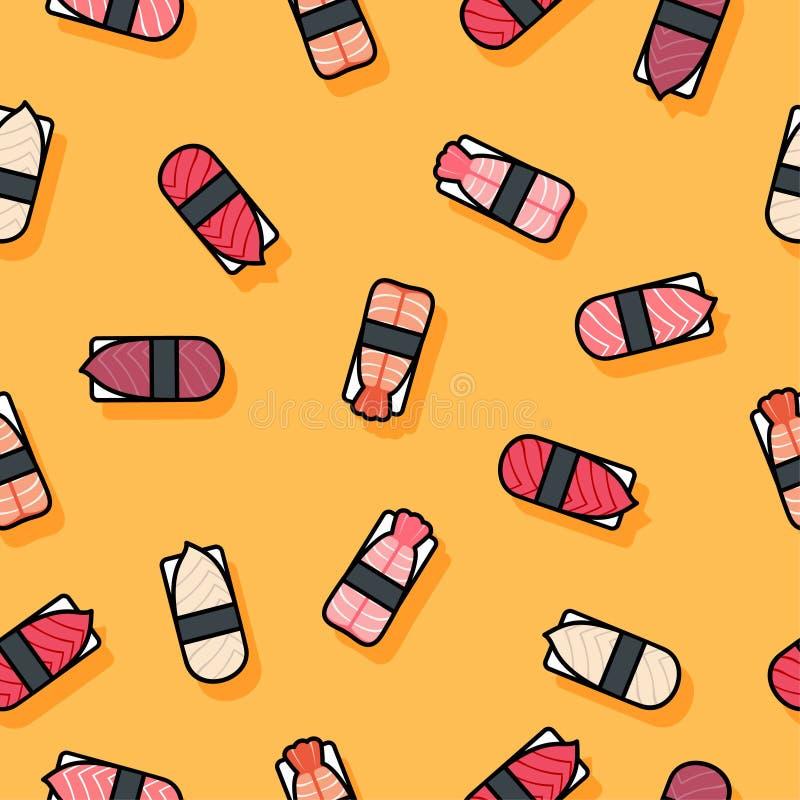 Seamless pattern. Sushi flat illustration. Sushi restaurant decoration. Kawaii sushi and nigiri on a yellow background. vector illustration