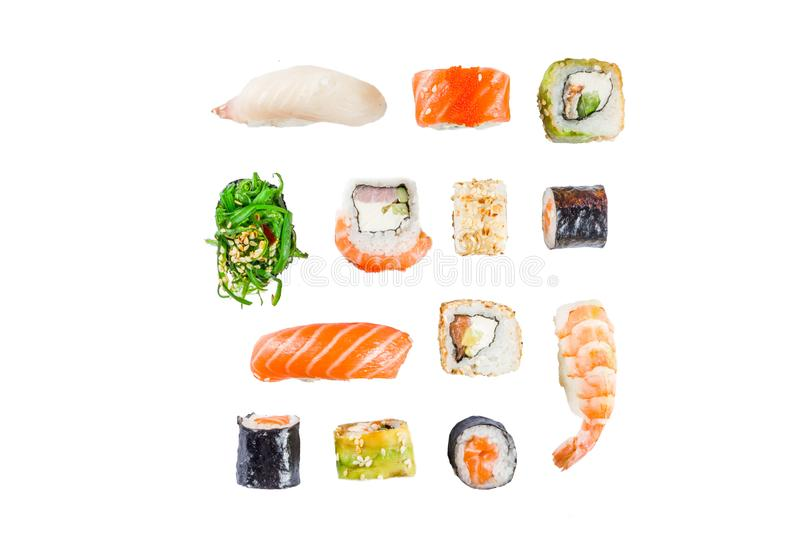 Seamless pattern with sushi. Food abstract background. Flying sushi, sashimi and rolls isolated on the white background royalty free stock photos