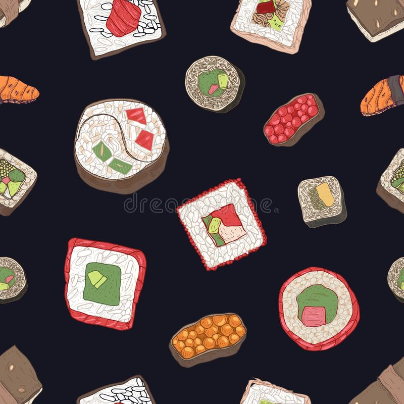 Seamless pattern with sushi, sashimi and rolls on black background. Backdrop with appetizing meals of traditional. Japanese cuisine. Elegant hand drawn vector vector illustration