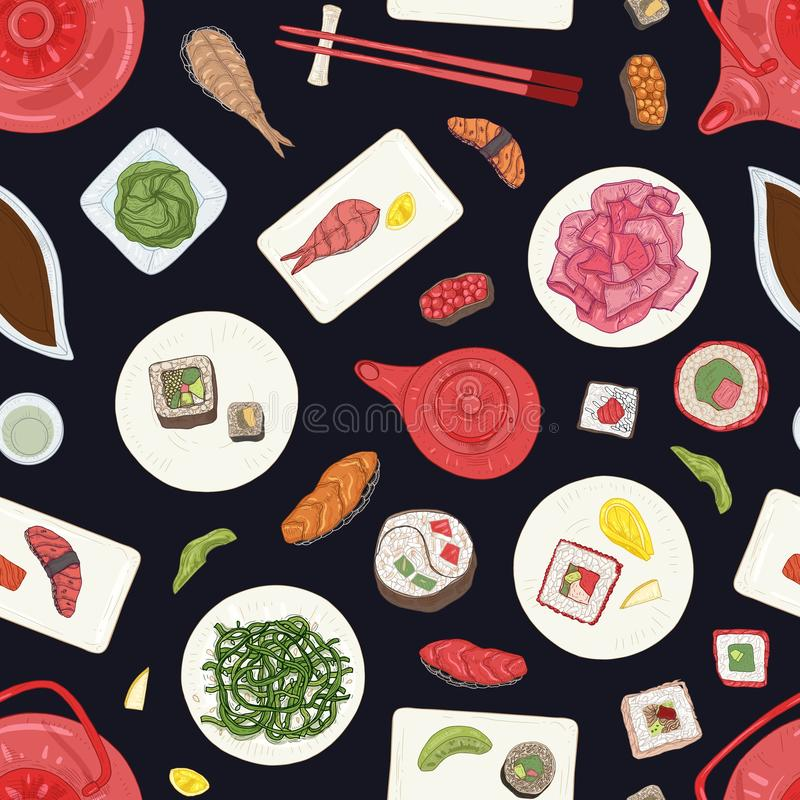 Seamless pattern with sushi, sashimi and rolls on black background. Elegant backdrop with traditional Japanese. Restaurant meals. Realistic hand drawn vector stock illustration
