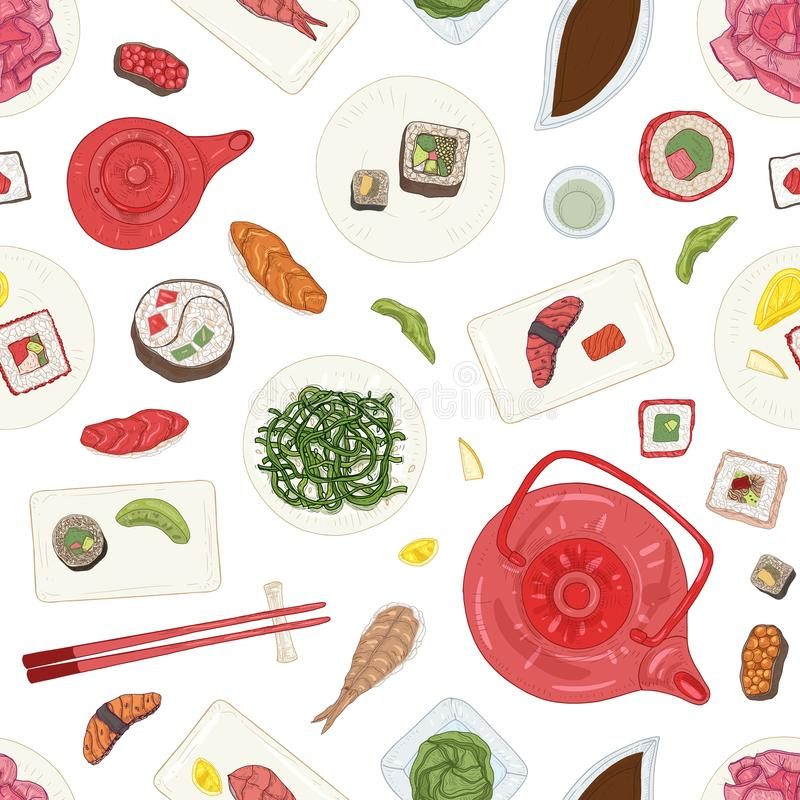 Seamless pattern with sushi, sashimi, rolls on plates and ingredients on white background. Backdrop with delicious. Japanese meals. Realistic hand drawn vector stock illustration