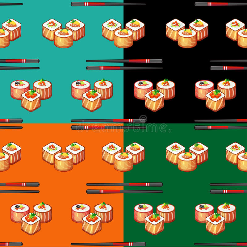 Seamless pattern sushi 2. In vector royalty free illustration