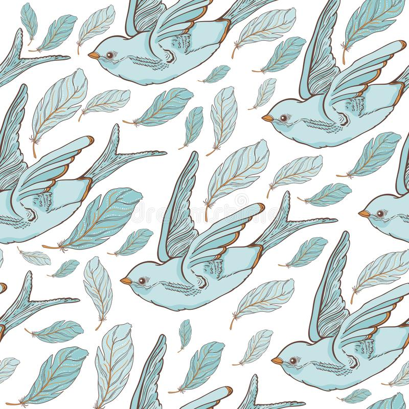 Seamless pattern with swallow birds and beautiful flowers. Vector embroidery for fashion textile and fabric. royalty free illustration