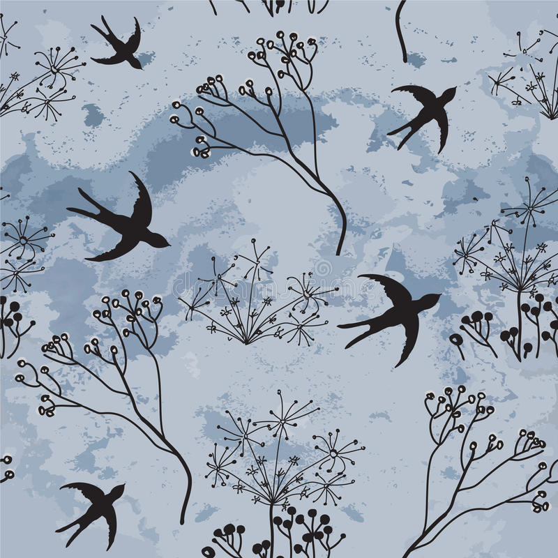 Download Seamless Pattern With Swallows And Cloudy Sky Stock Vector - Illustration: 25384695