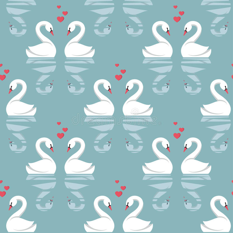 Seamless pattern with swans royalty free illustration