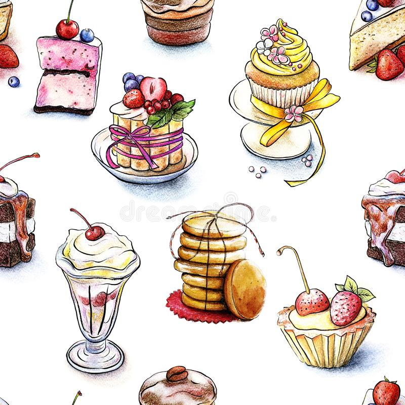 Seamless pattern of the sweet cakes. Cookies associated with string isolated on white background. Drawn by hand watercolor. Cookies associated with string stock illustration