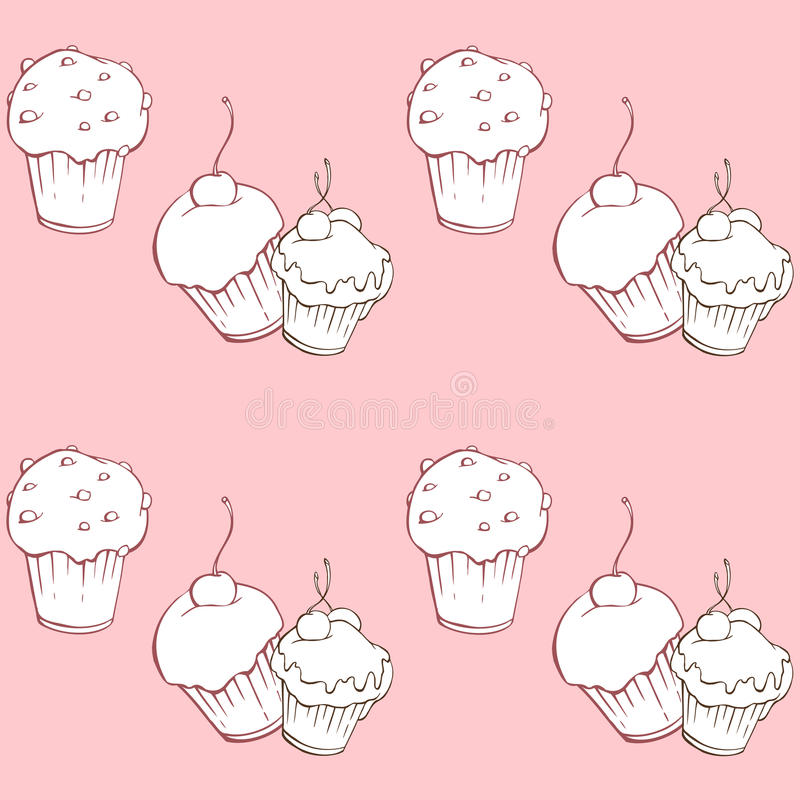 Download Seamless Pattern With Sweet Cakes On Pink Background Stock Vector - Illustration of cookie, hand: 83676493