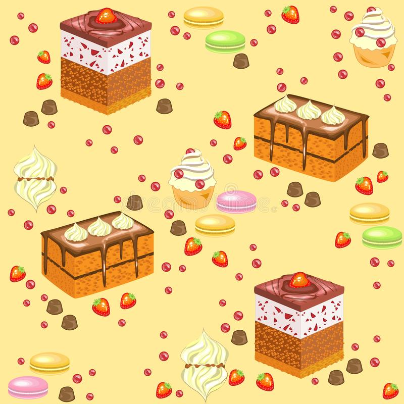 Seamless pattern. Sweet confectionery. Fresh holiday cakes, marshmallows, strawberry sweets. Suitable as wallpaper in the kitchen. Packaging for a gift stock illustration