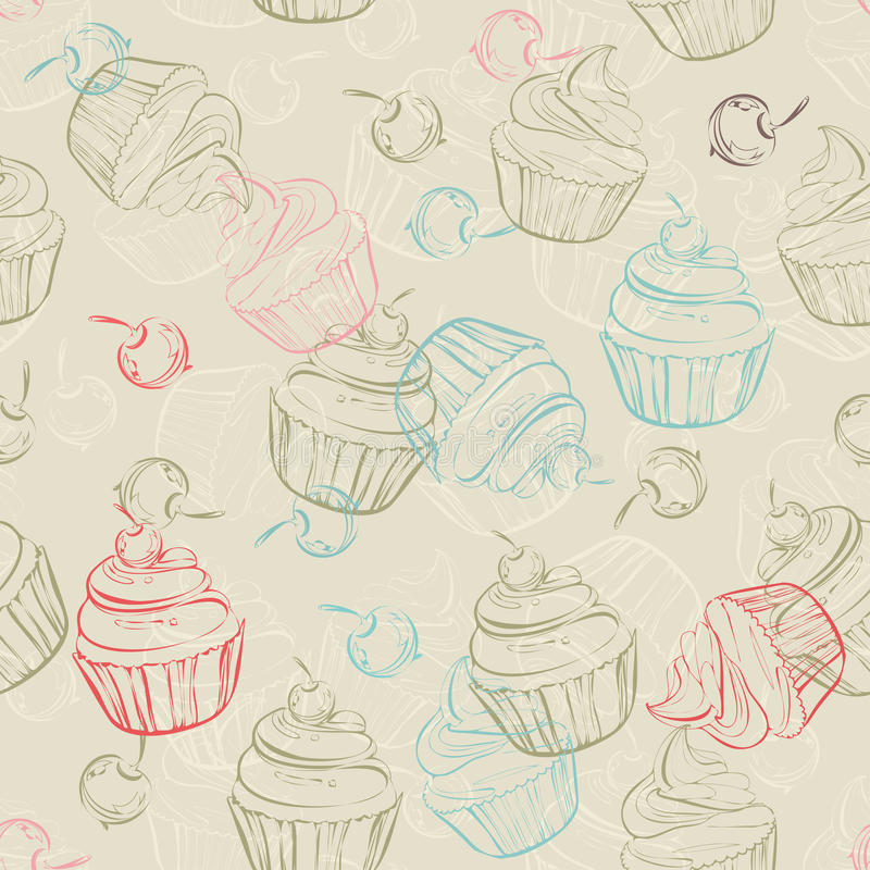 Download Seamless Pattern With Sweet Cupcakes And Berries In Vintage Style Wedding Background Retro