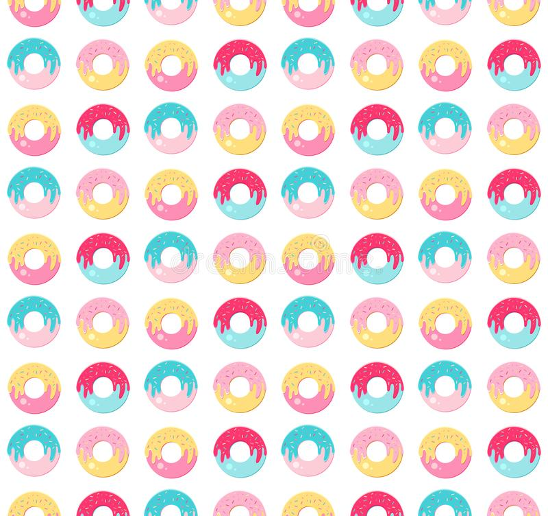 Seamless pattern sweet donut with bright, multicolored glaze. Modern icons in a flat vector. Top view. Kawaii. Cute cartoon royalty free stock images