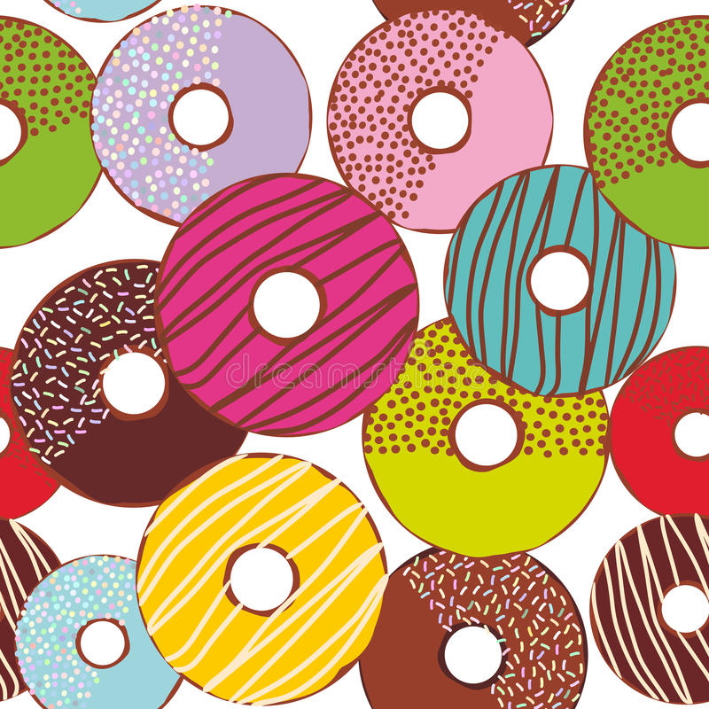 Seamless pattern Sweet donuts set with icing and sprinkls isolated, pastel colors on white background. Vector. Illustration royalty free illustration