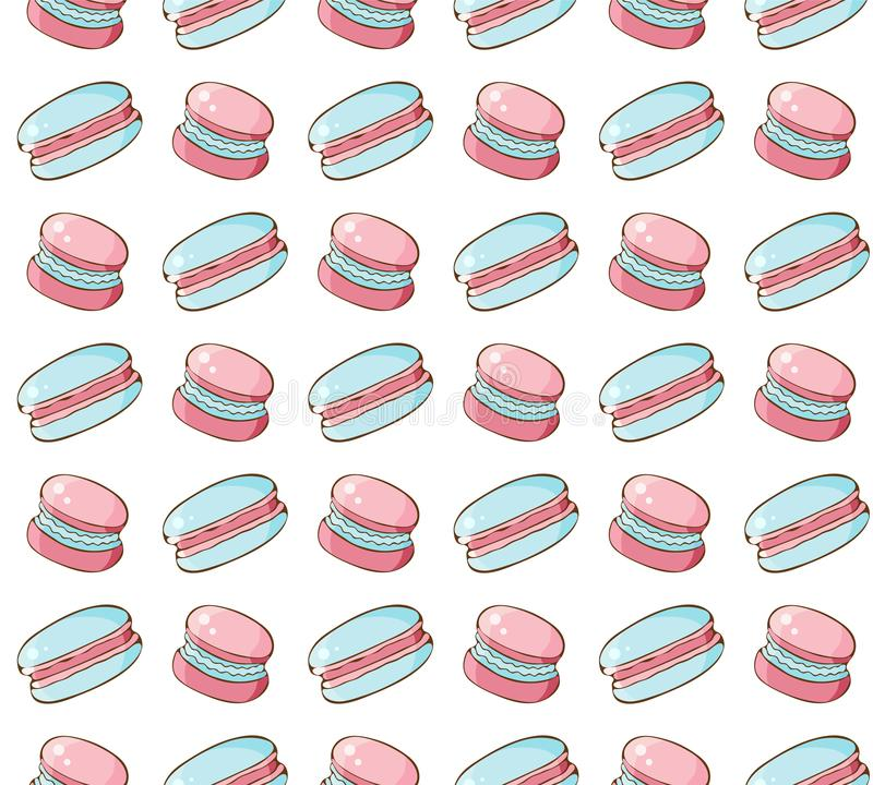 Seamless pattern of sweets, cookies, marshmallow, macaron in vector. Sweet pastries and pastry isolated on white background. Hand. Drawn in vintage style vector illustration
