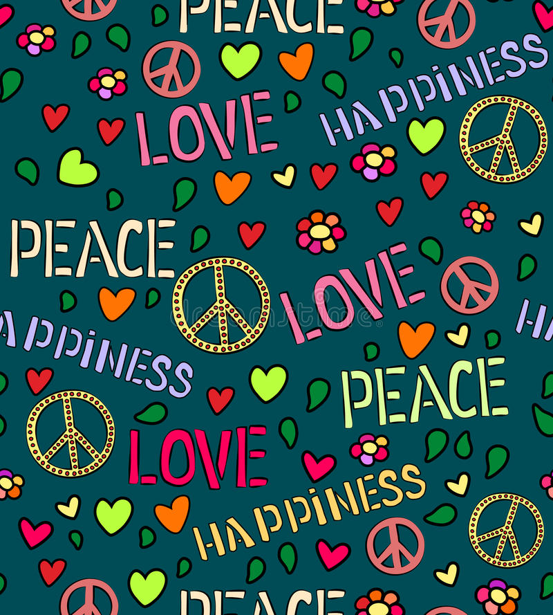 Seamless Pattern With Symbols Of The Hippie Love And Peace Color