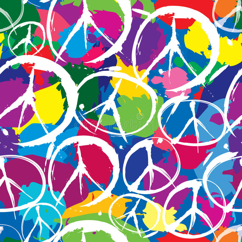 Seamless pattern with symbols of peace stock illustration