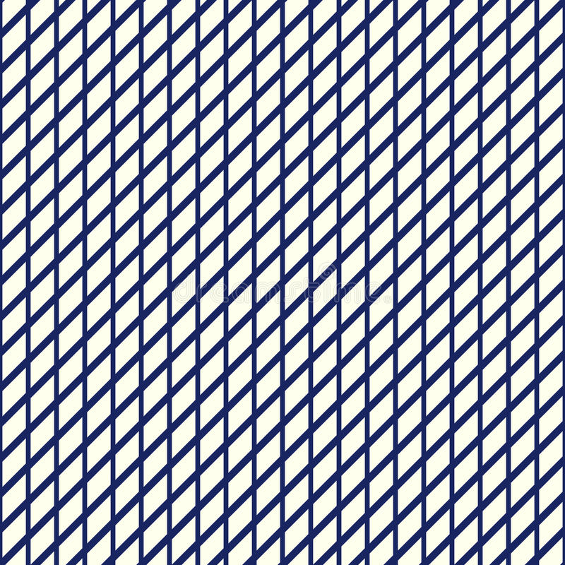 Seamless pattern with symmetric geometric ornament. Nautical blue striped grid abstract repeated wallpaper. stock illustration