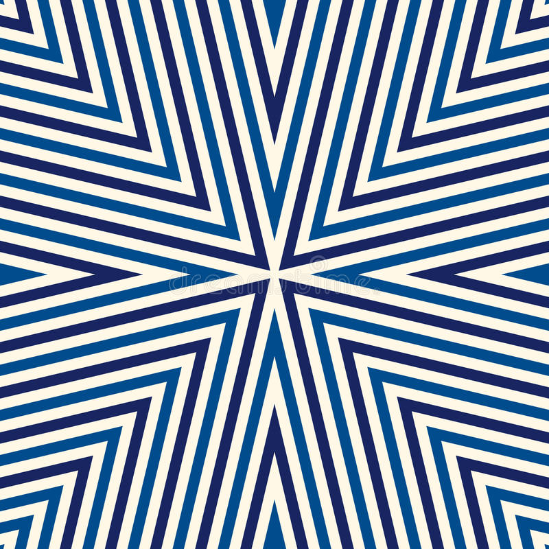 Seamless pattern with symmetric geometric ornament. Striped blue white abstract background. royalty free illustration
