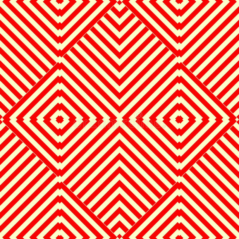 Seamless pattern with symmetric geometric ornament. Striped red white abstract background. stock illustration