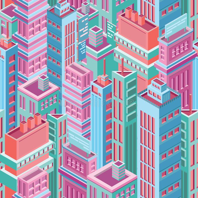 Seamless pattern with tall isometric city buildings, skyscrapers or towers of modern megalopolis. Background with city vector illustration