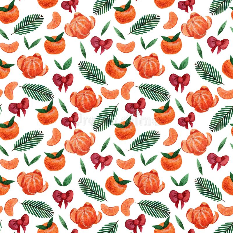 Seamless pattern with tangerines and red bows on a white background. royalty free stock photo